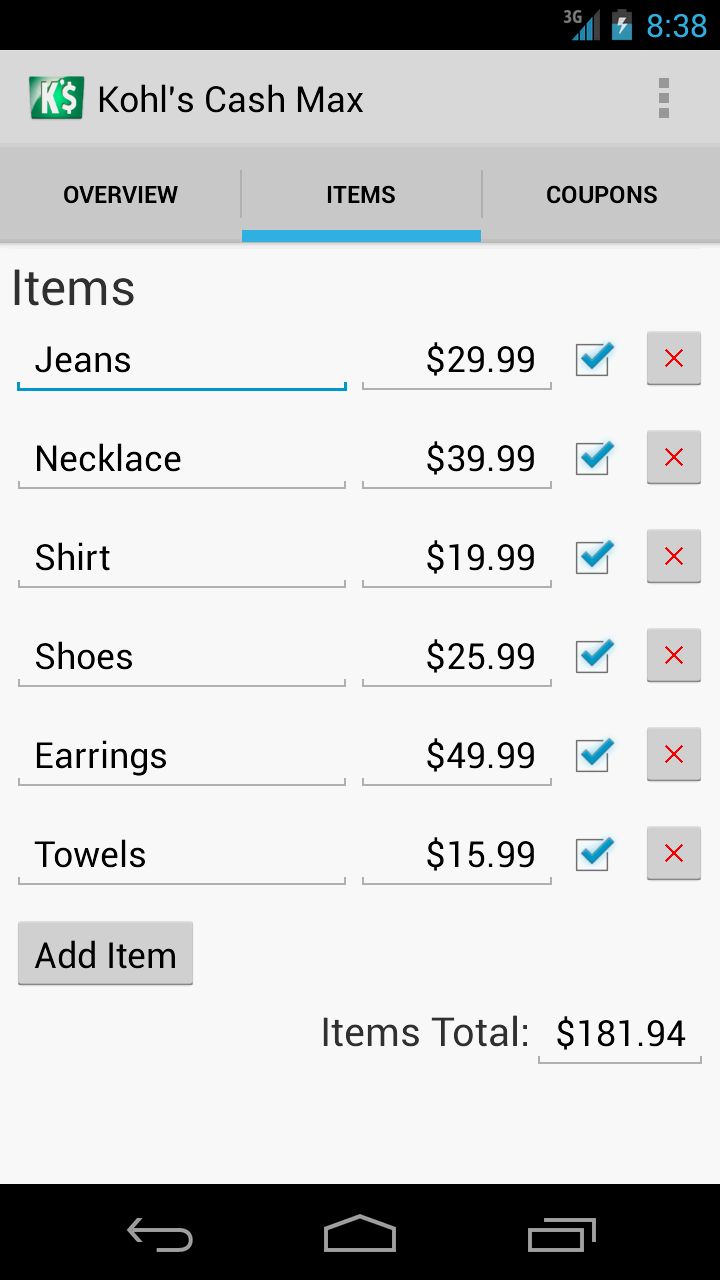 Kohl's Cash Max App - Items